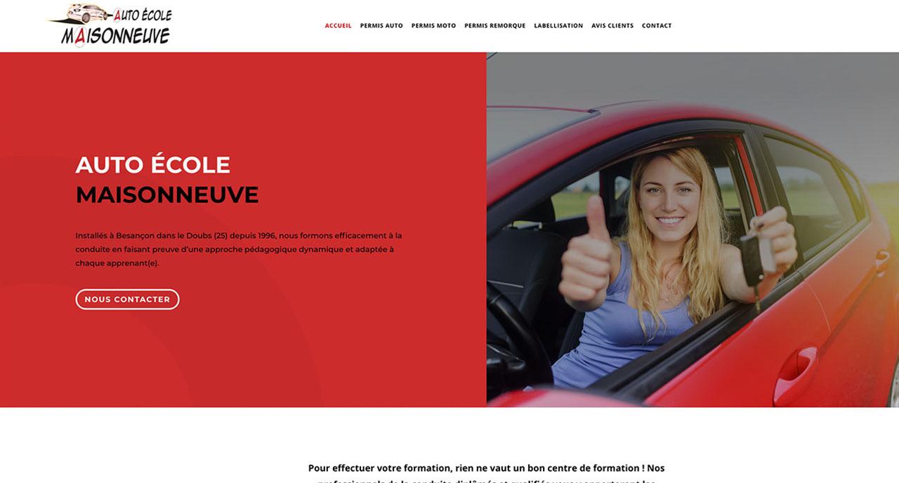 ceci est la page d'accueil du site vitrine de l'auto ecole maisoneuve