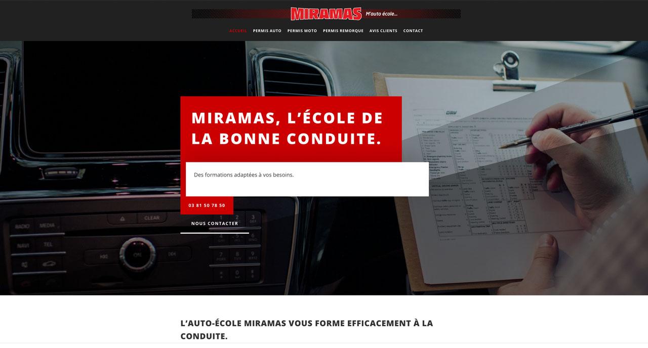ceci est la page d'accueil du site vitrine de l'auto ecole miramas